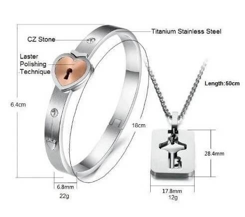 Love Lock Bracelet & Key Necklace