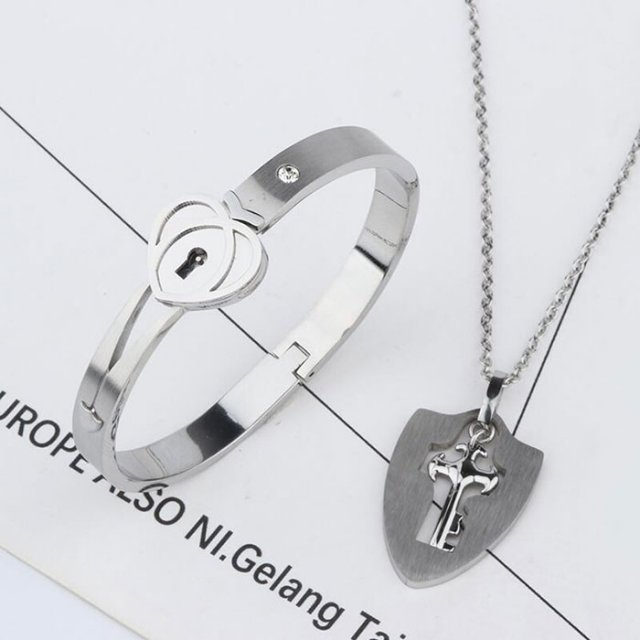 Heart Love Lock Bracelet & Key Necklace