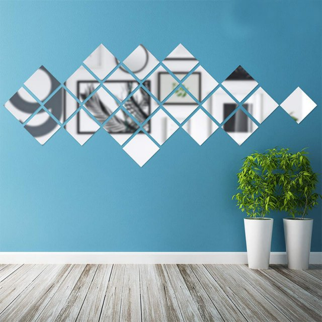 Removable PET Mirror Wall Sticker Decal for Home Living Room Bedroom Decor