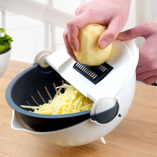 Multi-functional Rotate Vegetable Cutter With Drain Basket