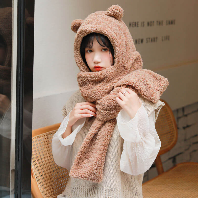 Bear Ear Hat Scarf Gloves Set