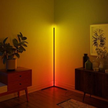 Multicolored LED corner floor lamp