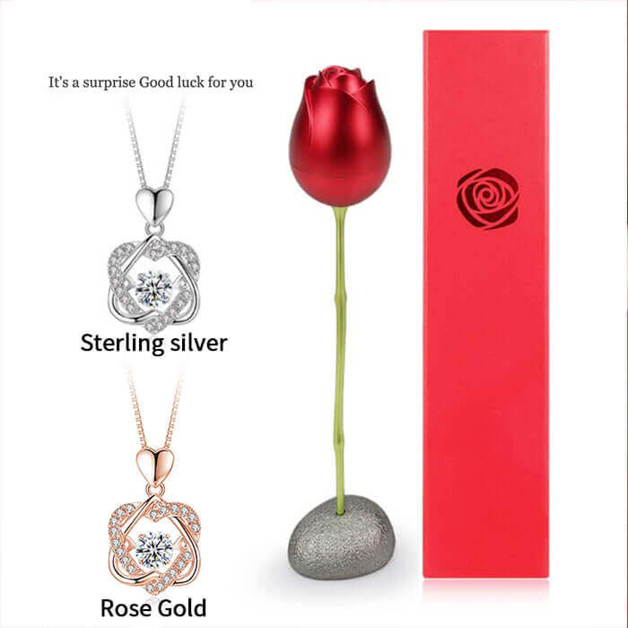 Heart Necklace With Rose Flower Gift Box